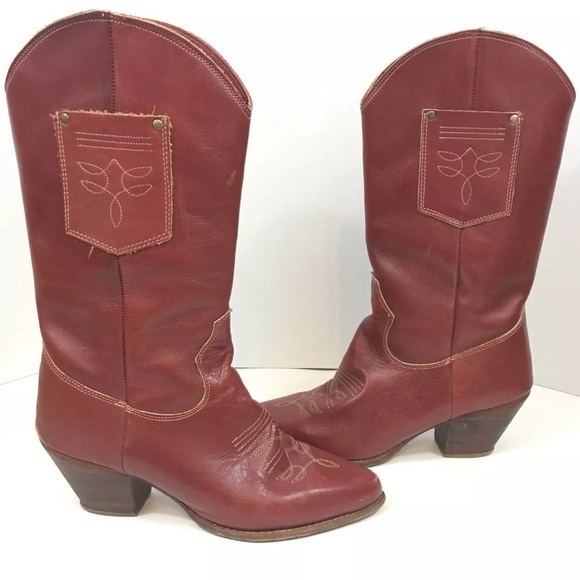 4ff63ca654f Zodiac Red Cowboy Boots Stacked Heel 10 Narrow